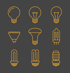 Yellow light bulbs outline icons vector
