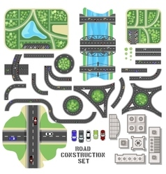 Road construction set vector image