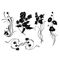 simple floral elements vector image vector image