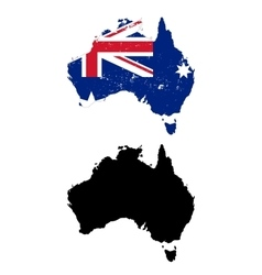 Australia country black silhouette and with flag vector image