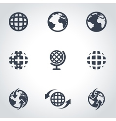 black world map icon set vector image