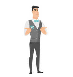 caucasian confused groom shrugging shoulders vector image