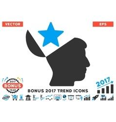 Open Head Star Flat Icon With 2017 Bonus Trend vector image
