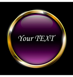 purple glossy button on black background vector image