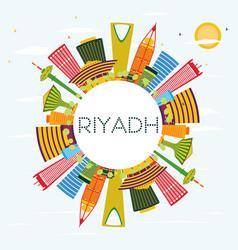 riyadh skyline with color buildings blue sky and vector image