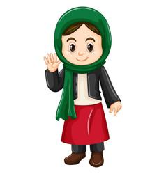 little girl in kuwait costume waving vector image vector image