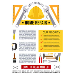 poster template for home repair work tools vector image vector image