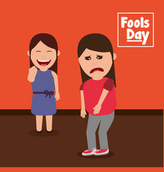 smiling woman pointing a sad friend fools day vector image
