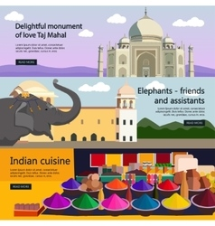 Travel to India banner set Indian culture vector image