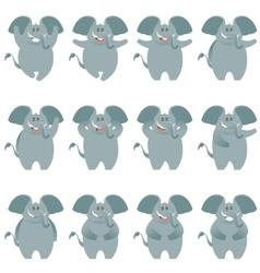 Elephant flat icons set vector image