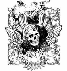 evil angel grunge skull illustration vector image vector image