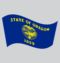 flag of oregon waving on gray background vector image vector image