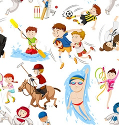 Seamless background with many sports vector image