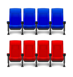 Set of realistic comfortable movie chairs for vector