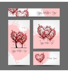 Set of valentine cards design with sakura trees vector image