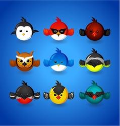 Set round funny birds ob blue background vector image
