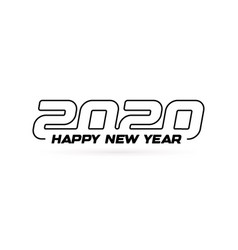 2020 outline modern design with text happy new vector image
