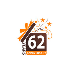 62 years gift box ribbon anniversary vector image