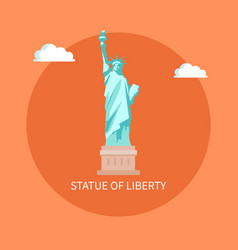 american enormous statue of liberty on cubic stand vector image