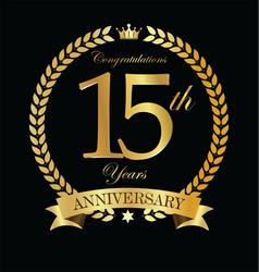 anniversary golden laurel wreath 15 years 6 vector image