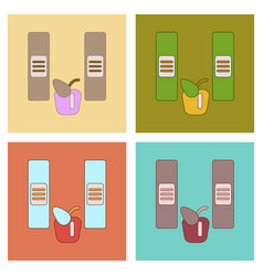 Assembly flat icons folders apple vector