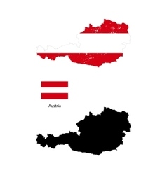 Austria country black silhouette and with flag on vector image