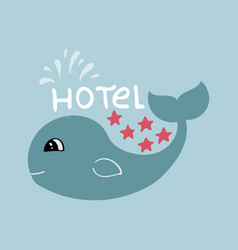 Banner for 5 star hotel with cute hand-drawn whale vector