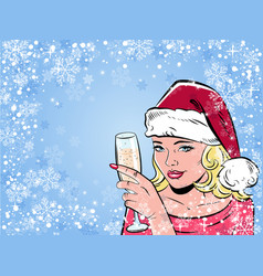 Beautiful girl drinking champagne in vector