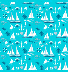 blue nautical seamless pattern vector image