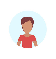 brown hair woman avatar isolated faceless female vector image