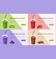 bundle of colorful horizontal web banners with vector image