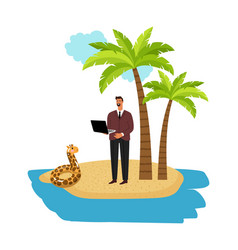 businessman beach vacation vector image
