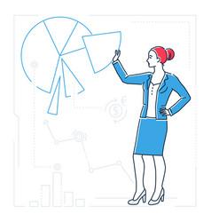 Businesswoman showing a diagram - line design vector
