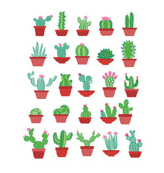 cactus icons in a flat hand drawn style on a white vector image