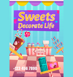Candy shop flyer sweets decorate life concept vector