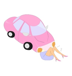 cartoon car and its woman vector image