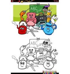 cartoon funny object characters coloring book page vector image