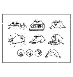 cartoon pigs flat outline style for true vector image