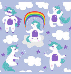 cartoon white unicorn seamless pattern vector image