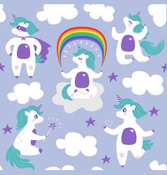 cartoon white unicorn seamless pattern vector image