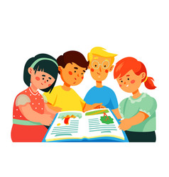 children reading a book - colorful flat design vector image
