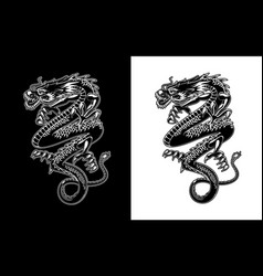chinese dragon tattoo or lunar new year symbol vector image