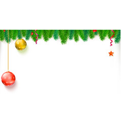 Christmas blank banner with garland of fir vector