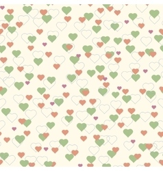 Colorful hearts seamless pattern beige background vector image