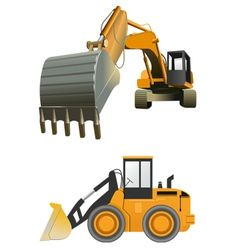 Construction machines on white background vector