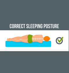 Correct sleeping posture banner horizontal flat vector