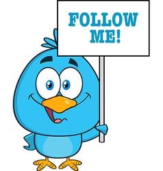 Cute Bird Cartoon Holding Up Sign vector image