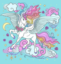 cute rainbow unicorn among the clouds stars vector image