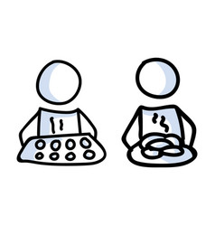 Cute stick figure two baker with cookie tray vector