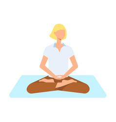 cute woman doing yoga in lotus posture vector image